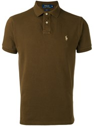 Polo Ralph Lauren Embroidered Logo Shirt Men Cotton S Brown