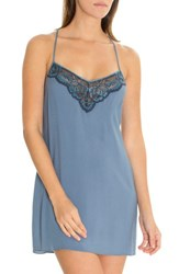 In Bloom By Jonquil Lace Trim Chemise Smoke Blue