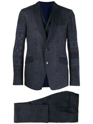 Etro Printed Formal Suit Blue