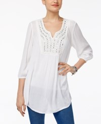Style And Co Petite Embellished Peasant Tunic Only At Macy's Mirrors White