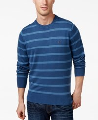 Tommy Hilfiger Signature Crew Neck Striped Sweater Bayhead Blue