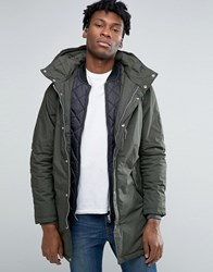 Pull And Bear Pullandbear Parka In Khaki Khaki Green