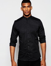 Vito Shirt With Micro Collar In Slim Fit Black