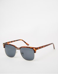 Asos Retro Sunglasses In Tort With Gold Nose Detail Brown