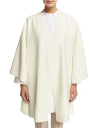 Agnona Collarless Belted Wool Wrap Front Cape White