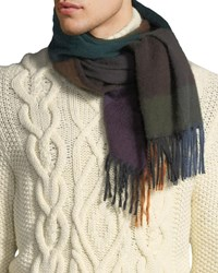 Begg And Co Colorblock Cashmere Scarf Green Brown