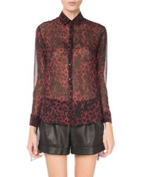 Saint Laurent Leopard Print Silk Tie Sleeve Blouse Red Black