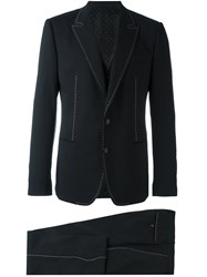 Dolce And Gabbana Contrast Stitch Three Piece Suit Black