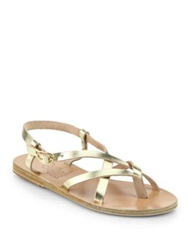 Ancient Greek Sandals Semele Criss Cross Leather Sandals Gold Brown