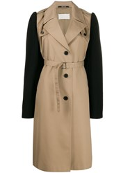 Maison Martin Margiela Colour Block Belted Trench Coat Brown