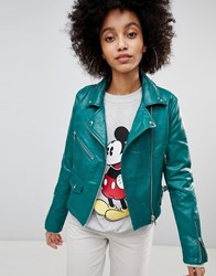 Bershka Leather Look Biker Jacket Green