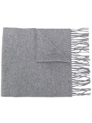 Moschino Logo Embroidered Fringed Scarf Grey