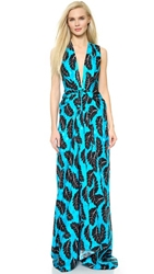 Thakoon V Neck Gown Blue Black
