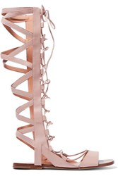 Sigerson Morrison Bright Leather Gladiator Sandals Neutral