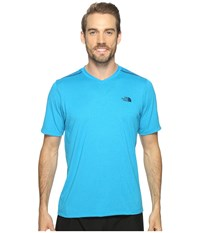The North Face Reactor Short Sleeve V Neck Hyper Blue Heather Men's Clothing