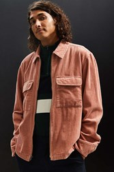 Urban Outfitters Uo Ryder Corduroy Zip Up Shirt Peach