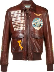 Off White Missiles Print Biker Jacket Brown