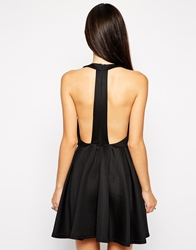 Ax Paris Lasercut Skater Dress With Cut Out Back Black