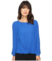 Vince Camuto Pleated Sleeve Fold Over Blouse Bold Cobalt Women's Blouse Blue