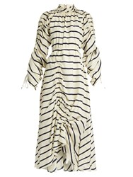 Preen Hope Ruched Striped Silk Dress White Stripe