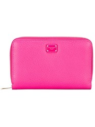 Dolce And Gabbana Dauphine Leather Wallet Pink Purple