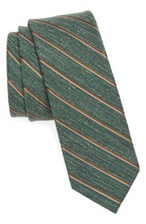 The Tie Bar Men's Pike Stripe Silk Skinny Hunter Green