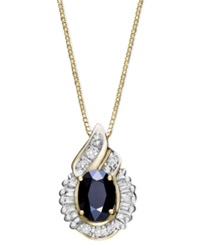 Macy's 14K Gold Necklace Sapphire 1 Ct. T.W. And Diamond 1 5 Ct. T.W. Swirl Pendant