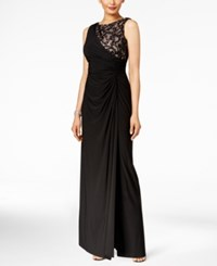 R And M Richards Petite Draped Lace Faux Wrap Gown Black