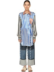 Loewe Long Stripe Printed Silk Satin Shirt Multicolor