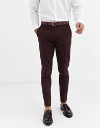 Rudie Plain Skinny Fit Suit Trousers Red