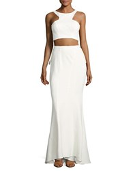 Xscape Evenings Knit Cropped Top And Ruffled Skirt Set Ivory