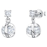 Jools By Jenny Brown Cubic Zirconia Crystal Caged Drop Earrings Silver