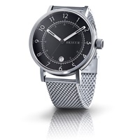 Bravur Watches Steel Case Black Face And Milanese Bracelet Black Grey Silver