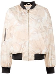 Ganni Camouflage Bomber Jacket Nude And Neutrals