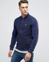 Lyle And Scott Double Face Bomber Texture Sweat In Navy Navy