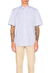 Our Legacy Short Sleeve Shirt In Blue Stripes Blue Stripes