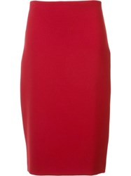 Nicole Miller High Rise Straight Skirt Red
