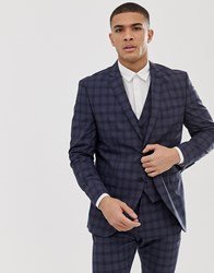 Selected Homme Slim Suit Jacket In Navy Check