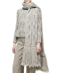 Oversized Leaf Knit Scarf W Fringe Taupe Brown Lela Rose
