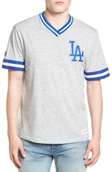 Mitchell And Ness Men's Los Angeles Dodgers Vintage V Neck T Shirt