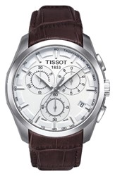 Tissot Men's Couturier Chronograph Leather Strap Watch 41Mm Brown White Silver