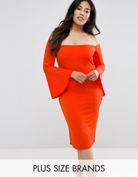 Club L Plus Bardot Dress With Flute Sleeves Red Orange
