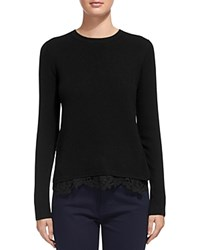 Whistles Lace Trim Sweater Black