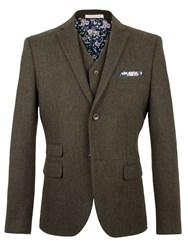 Racing Green Powell Herringbone Blazer Dark Green