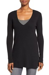 Vince Camuto Women's Ribbed V Neck Sweater Rich Black