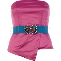 River Island Womens Pink Asymetric Satin Jewelled Bustier