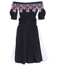 Peter Pilotto Lace Trimmed Cotton Dress Blue