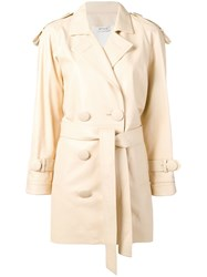 Attico Oversized Button Trench Coat Neutrals