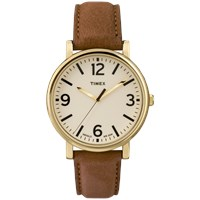 Timex Originals Classic Round Watch Cream And Tan Leather