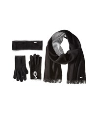 Calvin Klein Tow Tone 3 Piece Set Headband Glove Loop Black Heathered Mid Gray Scarves